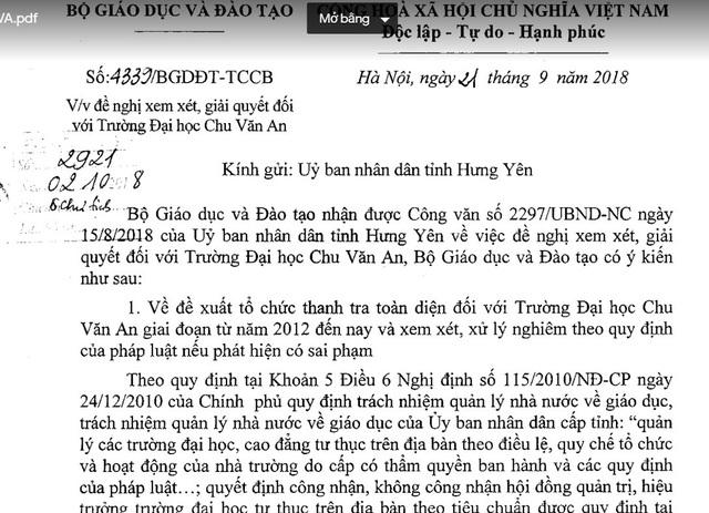 """""""Lùm xùm"""" ở Trường ĐH Chu Văn An: Vì sao Bộ GD-ĐT chưa vào cuộc? - 2"""