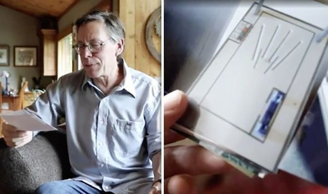 Bob Lazar cùng bức ảnh được cho là máy quét sinh trắc học tại Vùng 51.