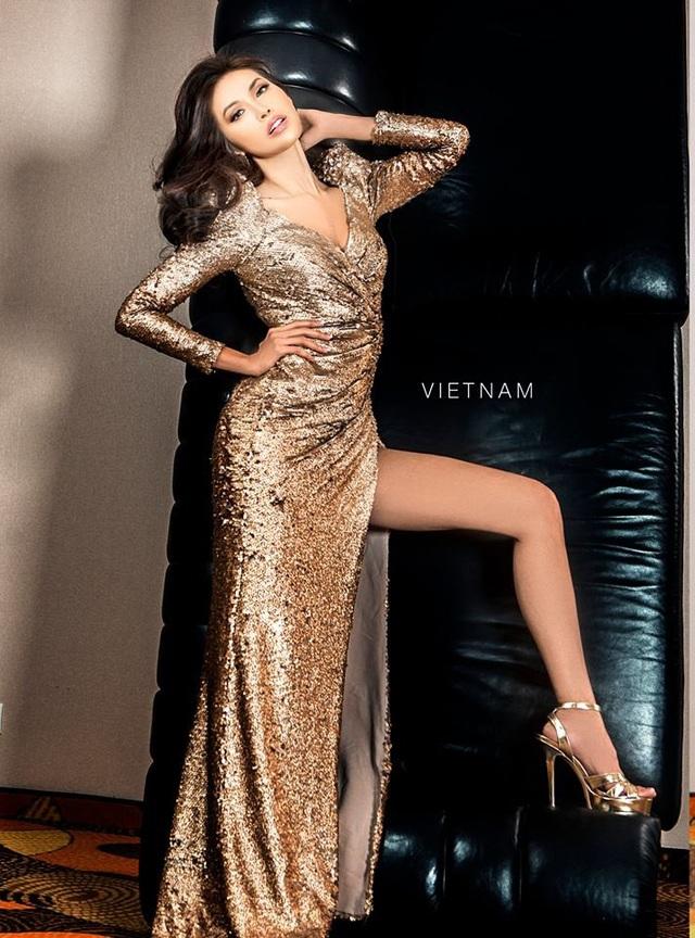 Hình ảnh Minh Tú trong cuộc thi Hoa hậu Siêu quốc gia 2018 khá ấn tượng