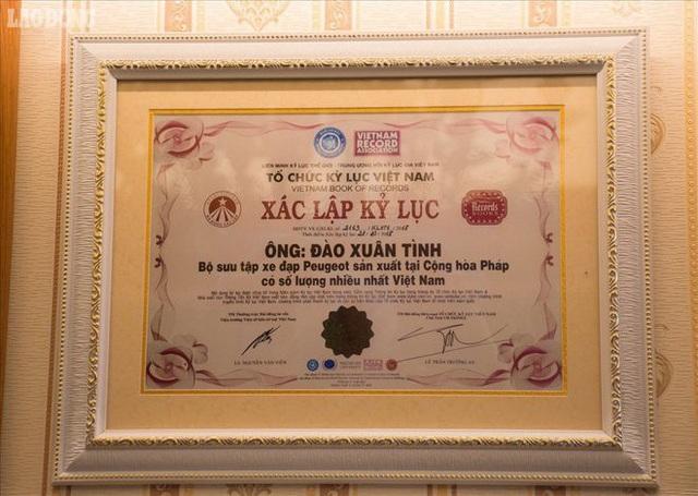 Ngày 18.11.2018, ông Đào Xuân Tình đã được TW Hội Kỷ lục Việt Nam đã trao kỷ lục quốc gia về người có sưu tập xe đạp Peugeot sản xuất tại cộng hòa Pháp có số lượng nhiều nhất.