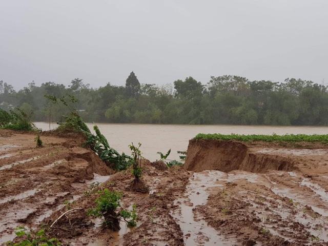 Nhiều đoạn sông bị sạt lở do mưa lớn.