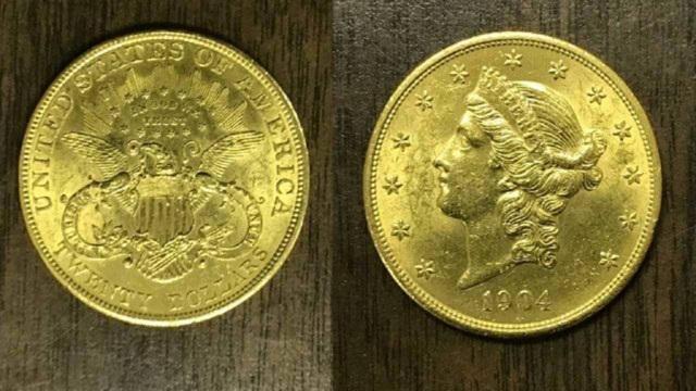 Đồng xu vàng từ năm 1904 ước tính trị giá 1.350 USD.