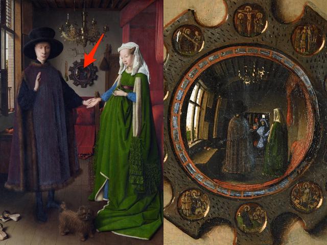 """Bức """"Chân dung nhà Arnolfini"""" chứa chân dung của chính họa sĩ người Hà Lan Jan van Eyck."""