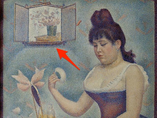 """Bức """"Người phụ nữ đánh phấn"""" từng chứa bức chân dung tự họa duy nhất của họa sĩ người Pháp Georges Seurat."""