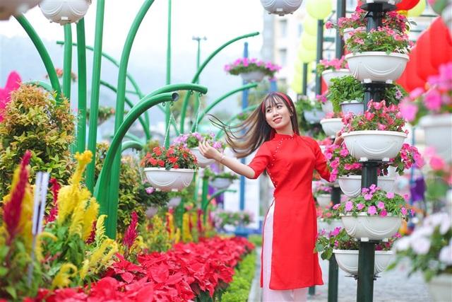 """Cả một """"rừng hoa"""" nở bên vịnh Hạ Long với nhiều loại đặc sắc như hồng tỉ muội nữ hoàng, cẩm tú cầu… đưa du khách đến với những không gian ngợp ngời sắc xuân. Dường như Tết đã rộn ràng ngay lúc này, nơi thành phố di sản."""