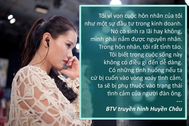 """Xem thêm: BTV Huyền Châu: """"Hôn nhân của tôi như một sự đầu tư trong kinh doanh"""""""