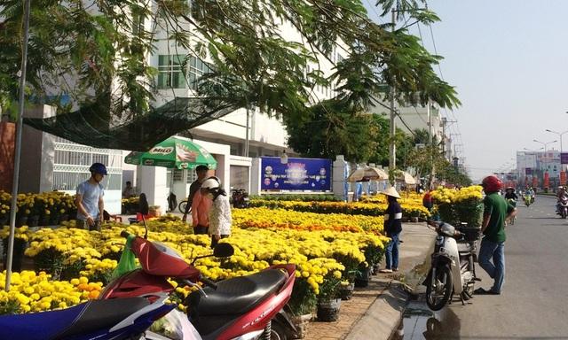 Một số tuyến đường là điểm nóng của các bạn trẻ bán hoa dịp lễ tình nhân thì nay là nơi bán hoa tết rất xôm tụ