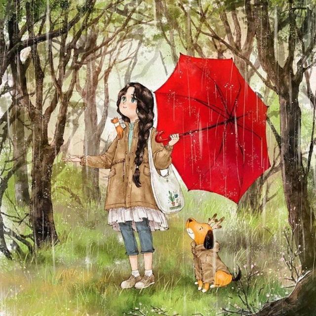 Đi dưới mưa cũng vui đấy nhỉ!