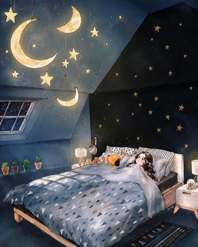 Lên giường một cái là có trăng sao làm bạn
