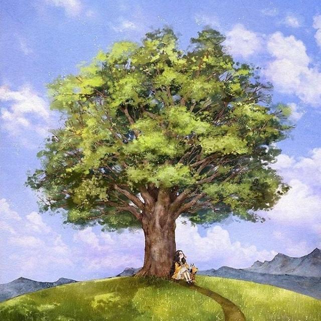 Dưới trời nắng gắt, ngồi ủ mình dưới gốc cây sum suê lá thì còn gì thú vị bằng!