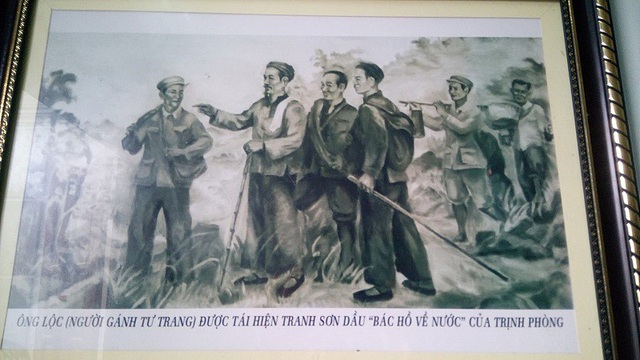 Bức tranh Bác Hồ về nước tại nhà anh Lê Văn Lợi