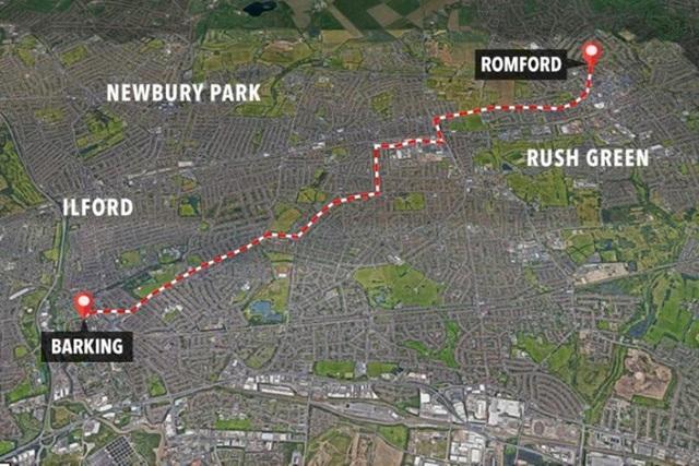 Con đường David đã đi từ khu Barking đến khu Romford