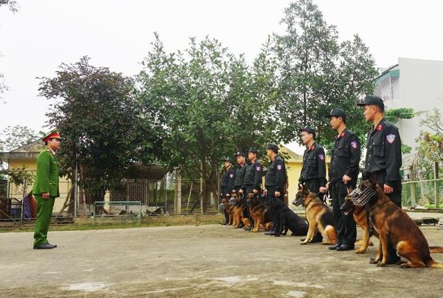 Cán bộ chiến sỹ Đội quản lí, huấn luyện và sử dụng động vật nghiệp vụ, Phòng cảnh sát cơ động Công an Nghệ An trong một buổi huấn luyện.