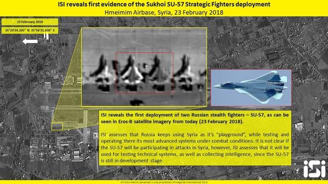 Ảnh vệ tinh của Israel cho thấy hai chiếc máy bay giống Su-57 của Nga ở căn cứ Khmeimim. (Ảnh: Sputnik)