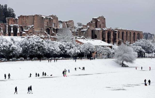 Lần gần đây nhất Rome chứng kiến đợt tuyết rơi dày vào năm 2012. Trong những ngày qua, bão tuyết đổ bộ khiến nhiều hoạt động tại Rome bị tê liệt khi các trường học phải đóng cửa và người dân được khuyến cáo nên ở trong nhà. (Ảnh: Reuters)