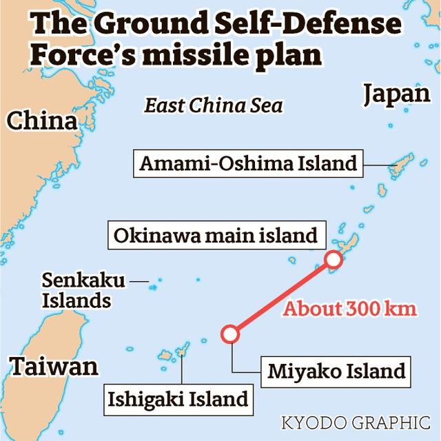 Sơ đồ kế hoạch triển khai tên lửa lên các đảo của Nhật Bản (Nguồn: Kyodo)