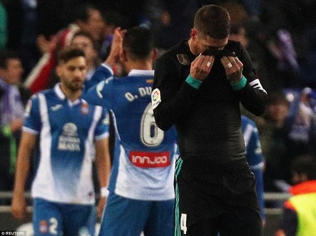Nỗi thất vọng của thủ quân Sergio Ramos bên phía Real Madrid
