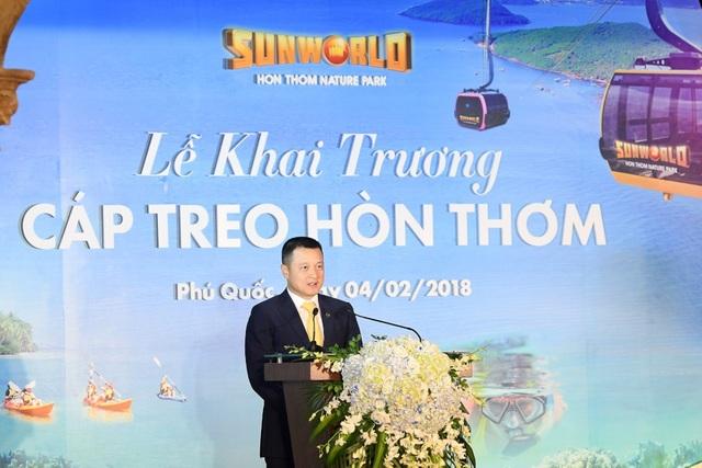 Ông Đặng Minh Trường - Phó chủ tịch, Tổng giám đốc Tập đoàn Sun Group phát biểu trong Lễ Khai trương Cáp treo Hòn Thơm sáng 4/2/2018