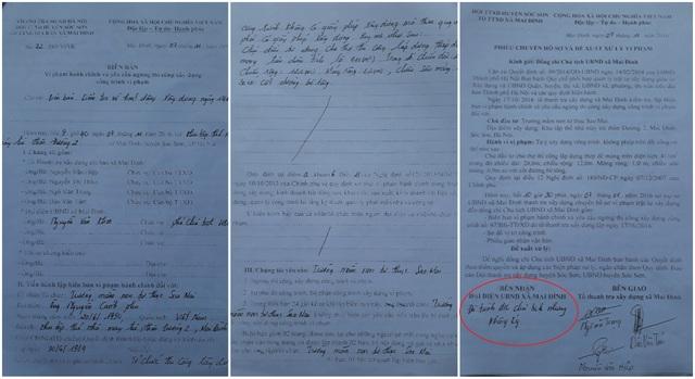 Văn bản do Tổ Thanh tra xây dựng xã Mai Đình lập nhưng ông Nguyễn Văn Thắng, Chủ tịch UBND xã Mai Đình đã từ chối không ký. Ảnh: TL