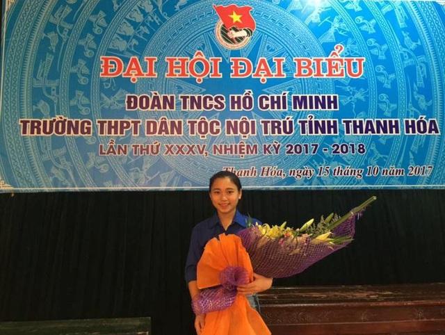 Em Phạm Thị Thu Huệ hiện nay là ủy viên Ban chấp hành Đoàn trường THPT Dân tộc nội trú Thanh Hóa