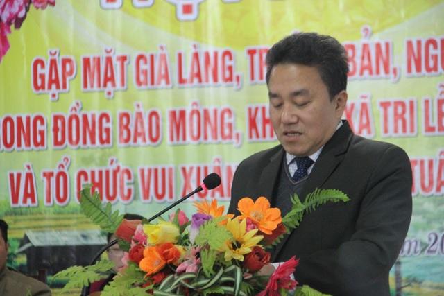 Ông Lê Văn Giáp - Chủ tịch UBND huyện Quế Phong, phát biểu tại buổi lễ.
