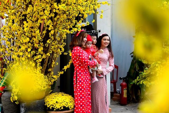 Các thiếu nữ tạo dáng bên hoa mai vàng.
