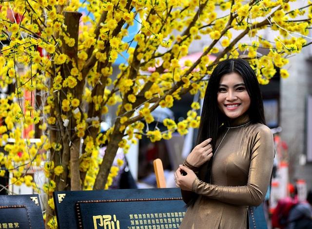 Những thiếu nữ xinh đẹp trong tà áo dài bước xuống phố ông đồ chụp hình đón xuân.