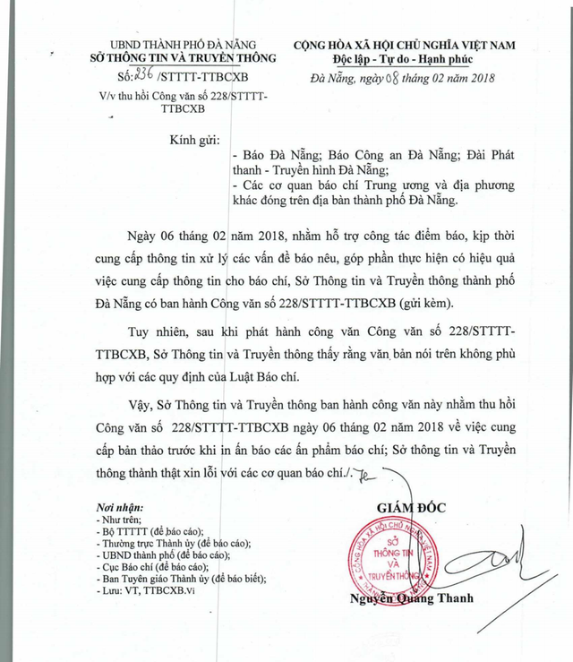 Sở Thông tin - Truyền thông Đà Nẵng ra công văn thu hồi công văn trên vì thấy không phù hợp với các quy định của Luật Báo chí
