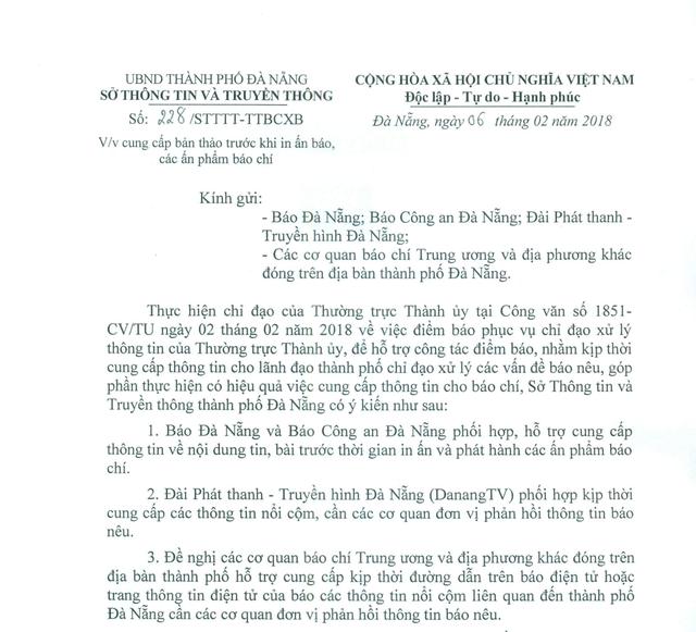 Công văn của Sở Thông tin - Truyền thông Đà Nẵng đề nghị báo chí cung cấp tin, bài trước khi in ấn