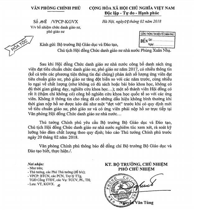 Văn bản hỏa tốc của Văn phòng Chính phủ gửi Bộ trưởng Bộ GD-ĐT Phùng Xuân Nhạ.