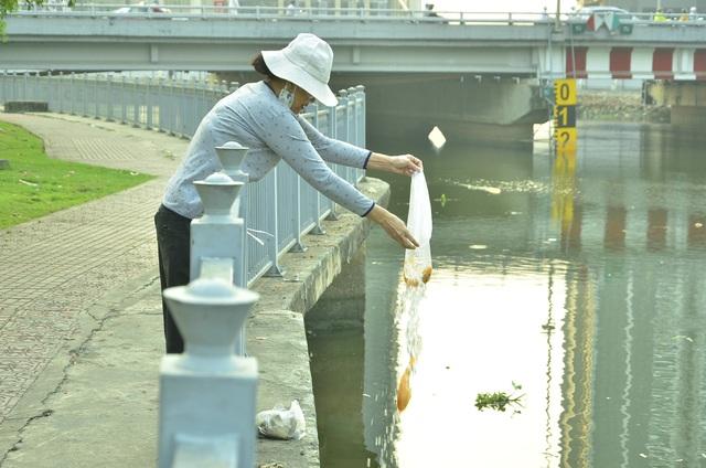 Một người phụ nữ thả cá chép xuống kênh Nhiêu Lộc - Thị Nghè