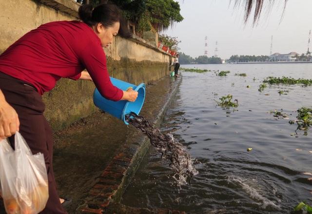 Ngoài cá chép, người dân còn thả phóng sinh nhiều loại cá khác