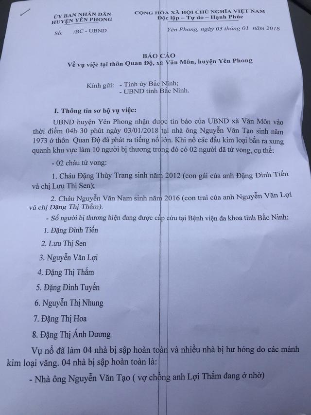 Báo cáo của UBND huyện Yên Phong về vụ nổ.
