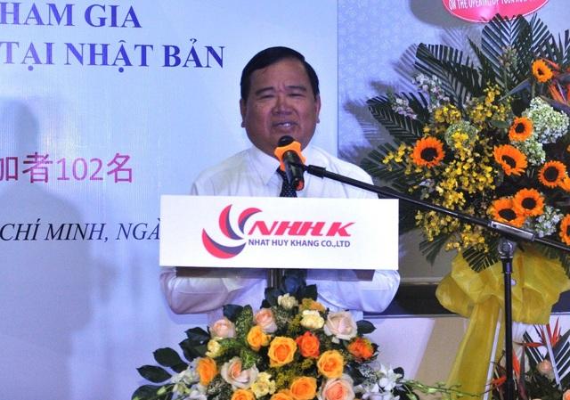Ông Bùi Hữu Nhơn – Giám đốc Sở LĐTBXH tỉnh Đồng Tháp, phát biểu tại buổi lễ tiếp nhận 102 lao động Đồng Tháp tham gia chương trình thực tập sinh đi làm việc ở Nhật Bản