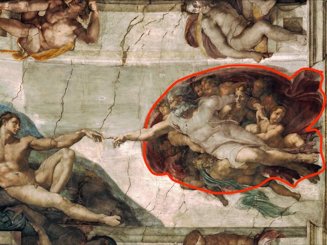 """Bức bích họa xuất hiện trên trần của nhà nguyện Sistine (Vatican) có tên gọi """"Tạo ra Adam"""" có hình ảnh liên hệ tới não người."""