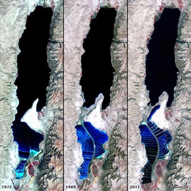 Diện tích biển Chết đang co lại theo năm tháng