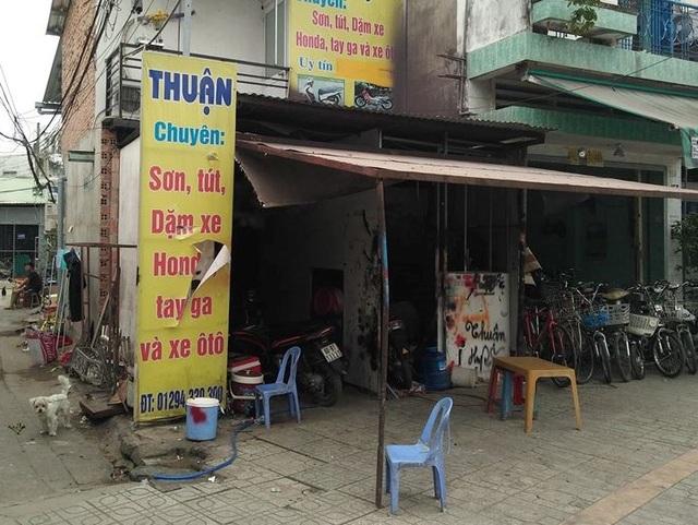 Tiệm sơn xe máy nơi xảy ra vụ việc