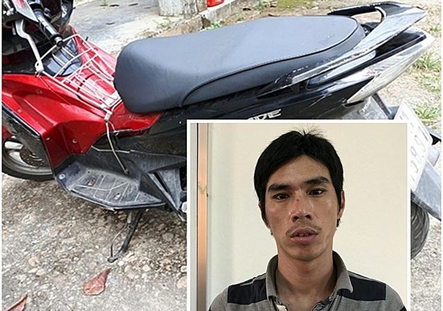 Đối tượng Hồ Văn Trung và chiếc xe máy trộm cắp