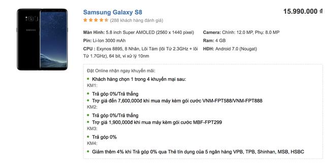 Giá bán Galaxy S8 được niêm yết mới