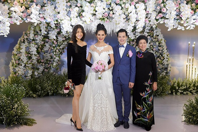 """Đám cưới chịu chơi, đình đám của """"Người đẹp được yêu thích nhất"""" Hoa hậu Hoàn vũ Việt Nam 2015 Sang Lê với vị đại gia hơn cô 16 tuổi từng gây chú ý truyền thông hồi tháng 6/2017."""