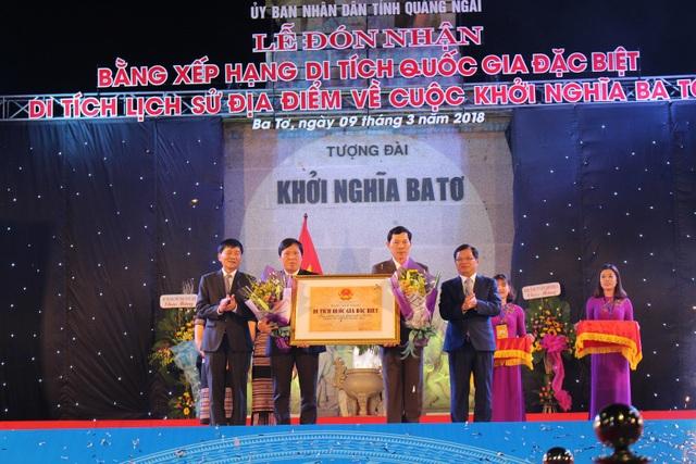 Tỉnh Quảng Ngãi đón nhận bằng xếp hạng di tích Quốc gia đặc biệt di tích lịch sử địa điểm về cuộc khởi nghĩa Ba Tơ