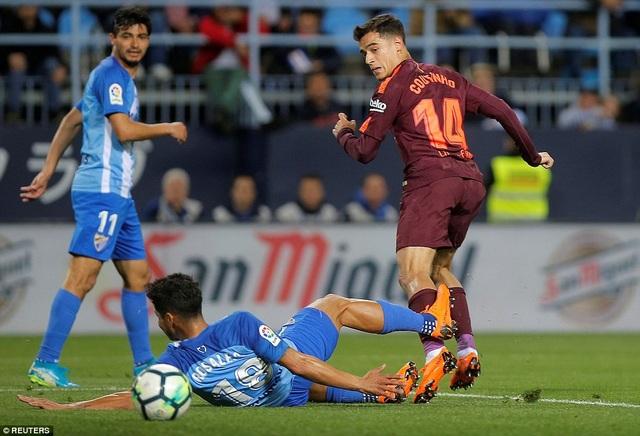 Coutinho giật gót ghi bàn nâng tỷ số lên 2-0 cho Barcelona