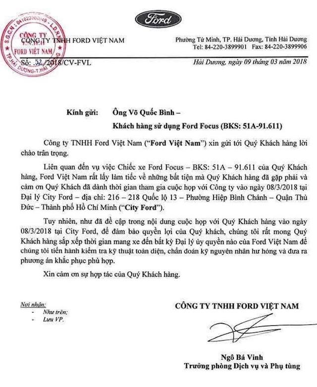 Ford Việt Nam mong muốn kiểm tra lại chiếc xe Ford Focus của ông Võ Quốc Bình. Tuy nhiên, ông Bình không đồng ý.