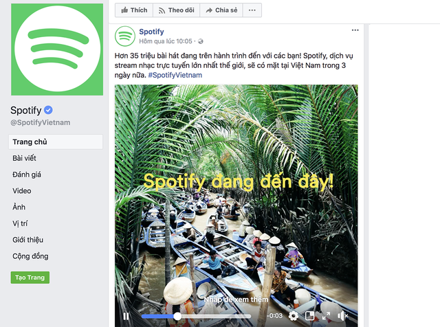Fanpage chính thức của Spotify tại Việt Nam đăng dòng trạng thái