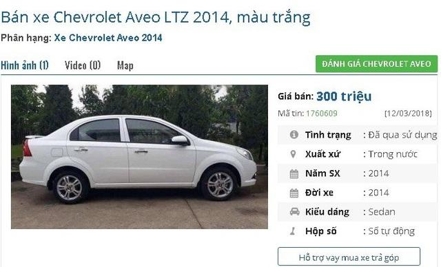 Một chiếc Chevrolet Aveo LTZ 2014, màu trắng số tự động còn khá mới đang được rao bán giá 300 triệu đồng. Theo lời người bán, xe được bảo dưỡng định kỳ, máy móc vận hành tốt, tiết kiệm nhiên liệu.