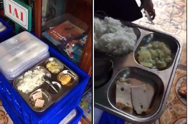 Suất ăn bán trú 13 nghìn đồng tại trường tiểu học Kỳ Bá, thành phố Thái Bình bị phụ huynh tố quá đạm bạc (ảnh: cắt từ clip)