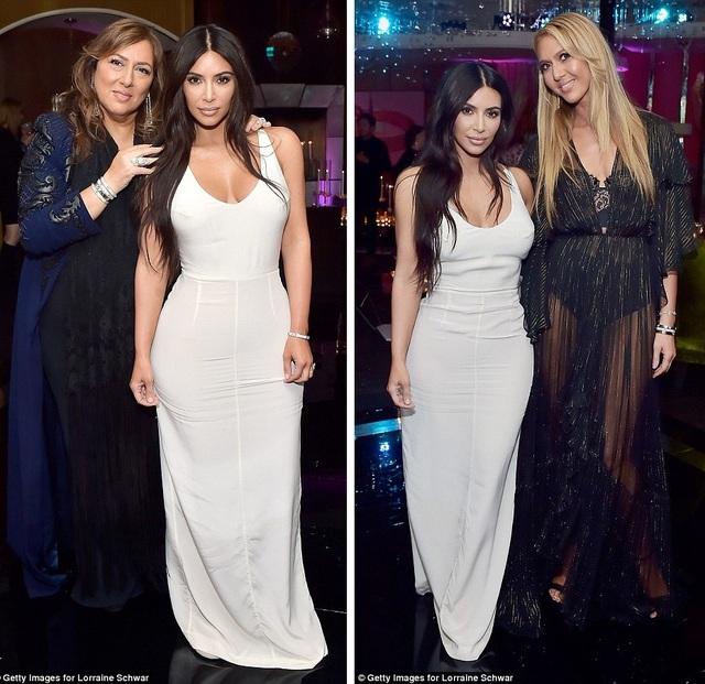 Kim Kardashian chọn một chiếc váy màu trắng khoe đường cong.