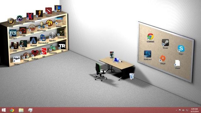 Màn hình máy tính với những biểu tượng được sắp xếp như một góc làm việc thực sự
