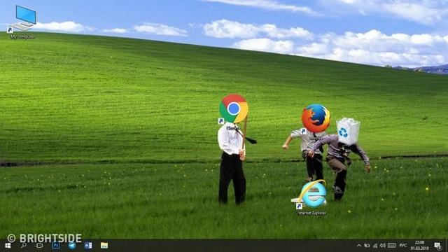 Thêm một cách bố trí màn hình máy tính thể hiện thái độ... kỳ thị với trình duyệt Internet Explorer