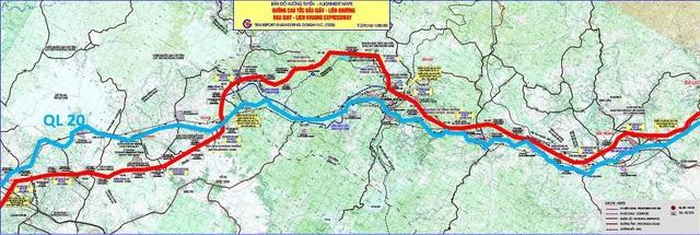 Hướng tuyến đường cao tốc Dầu Giây - Liên Khương (đường màu đỏ)